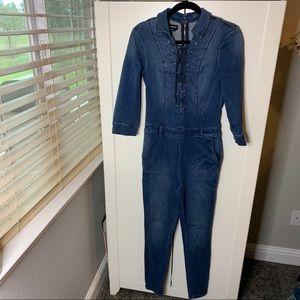 Bebe Lace-up Zippered Denim Jumpsuit